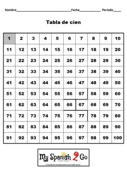numbers spanish 1 100 worksheet with hundreds chart fun