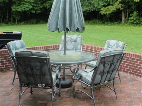 metal patio table with glass top and lazy susan and