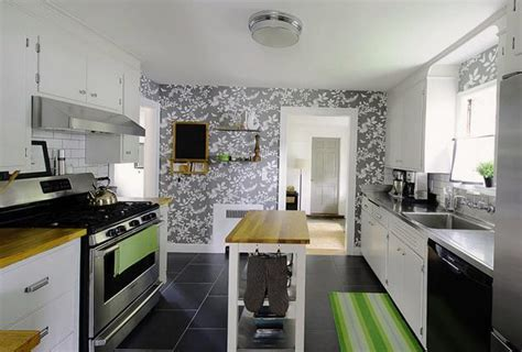 white kitchen cabinets  modern wallpaper ideas