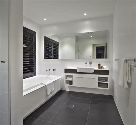 White Bathroom Flooring by White Bathroom With Charcoal Floor Tiles And Caesarstone