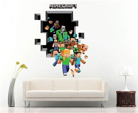 Home Decor 3d Wall Stickers : Minecraft 3d Wall Stickers Decorative Wall Decal Home