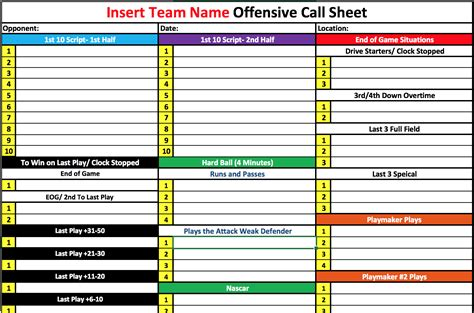 play template 45 offensive play call sheet template american football monthly sheets the most