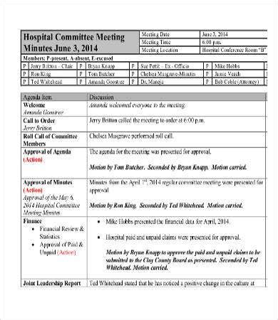 committee minutes template   word  documents