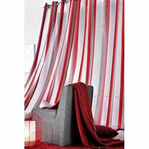 Rideaux Rayures Verticales : rideau voilage ray rouge et taupe ~ Teatrodelosmanantiales.com Idées de Décoration