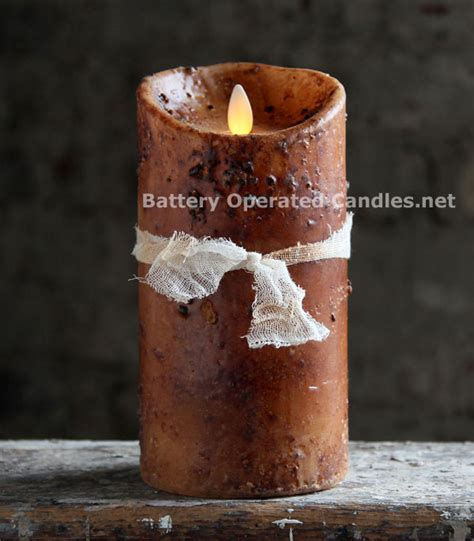 moving flame primitive brown candle battery operated