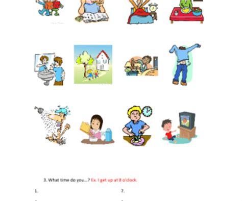 daily routines worksheet  kids
