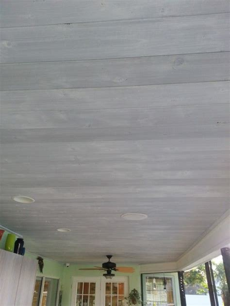 whitewashed wood ceiling  gray stain diy painted