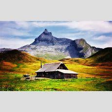 Wallpaper Mountain, House, Hills, Clouds, Sky Desktop
