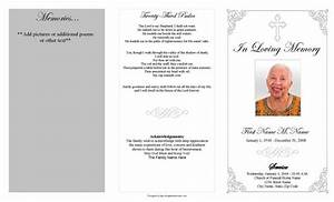 Microsoft Word Trifold Grey Ornate Cross Trifold Funeral Program Template