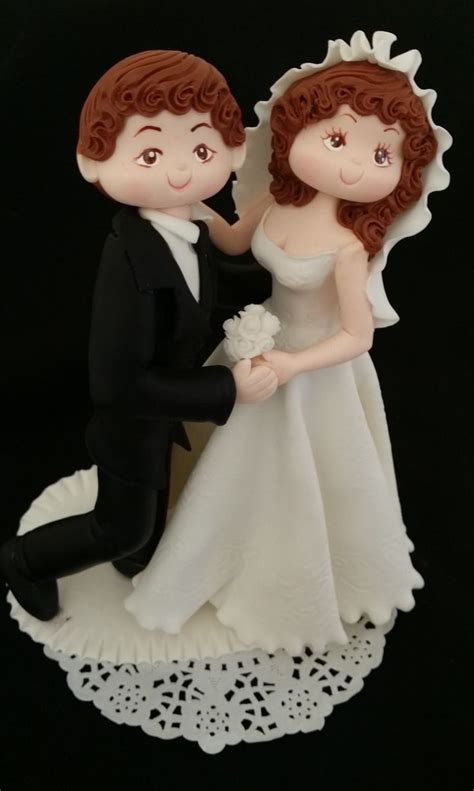 Bride Groom Unique Wedding Cake Topper Wedding Figurine