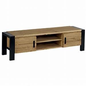 Meuble Tv Metal Noir : meuble tv en pin massif et m tal laqu noir de 150 cm ~ Teatrodelosmanantiales.com Idées de Décoration