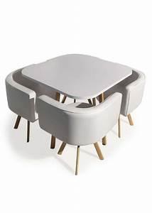 Table Et Chaise Encastrable : table et chaises encastrables scandinaves blanc basi ~ Louise-bijoux.com Idées de Décoration