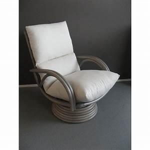 fauteuil en rotin pivotant haut dossier gris With fauteuil salon design pivotant