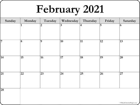 february  blank calendar collection