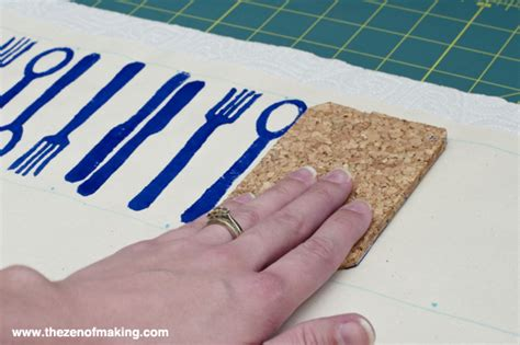 how to get print on fabric tutorial modern block printed napkins the zen of making