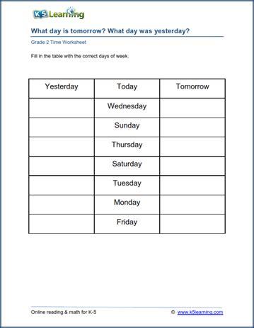 grade 2 calendar worksheets days of the week k5 learning