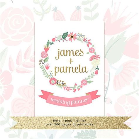 printable wedding planner  custom cover floral pink