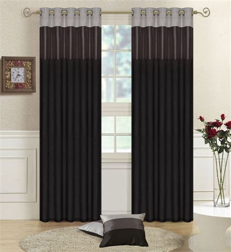 Black And Grey Curtains by Black Grey Silver 66 Quot X 90 Quot Faux Silk Three Tone Eyelet