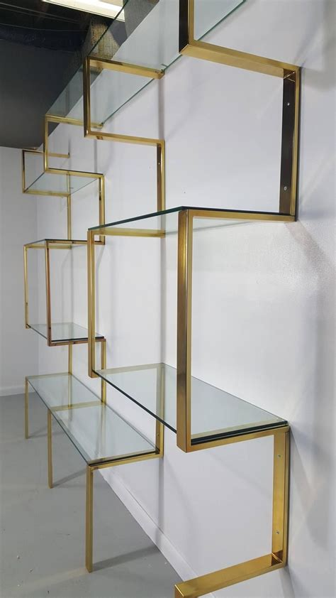 Brass Etagere by Architectural Brass Etagere Shelving Unit After Milo