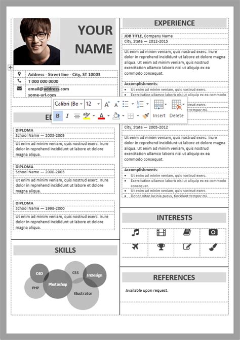 Editable Resume Formats by Well Organized Table Formatted And Fully Editable Free