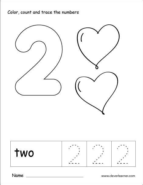 number 2 tracing and colouring worksheet for kindergarten