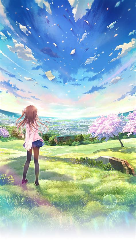 anime world beautiful girl sky iphone wallpaper iphone