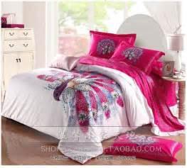 aliexpress com buy peacock bird print hot pink bedding