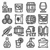 Outline Whisky Premium Icons Vector sketch template