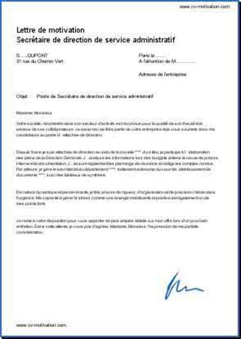 lettre de motivation secretaire de direction resume format lettre de motivation exemple secr 233 taire