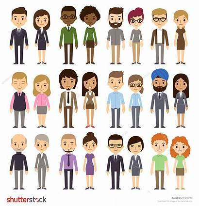 Diverse Different Business Cartoon Simple Background Diversity