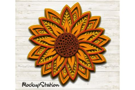Could you explain how you take a mandala svg and add square shadowbox shape around each mandala layer? Sunflower 3D Mandala SVG, Flower Layered Design PNG DXF ...