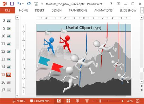 animated climbing  mountain powerpoint templates