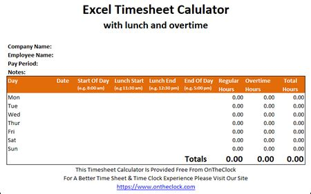 excel time card calculator  lunch  overtime