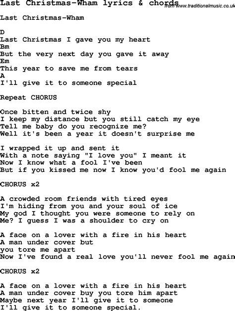 wham lyrics last christmas lyrics scrapheap challenge