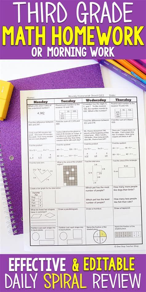 3rd Grade Math Spiral Review  3rd Grade Math Homework Or 3rd Grade Morning Work  Morning Work