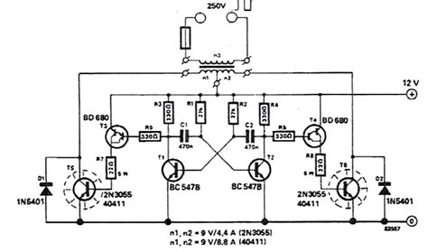 100 watt inverter circuit using 2n3055 transistors