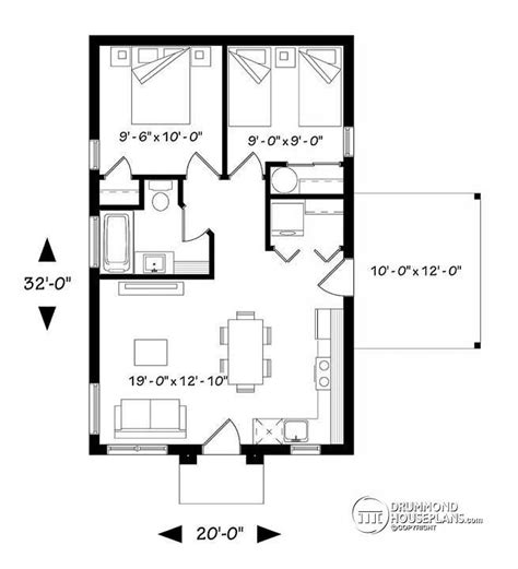 2 Bedroom Open Floor Plans by 1st Level Small Affordable Modern 2 Bedroom Home Plan