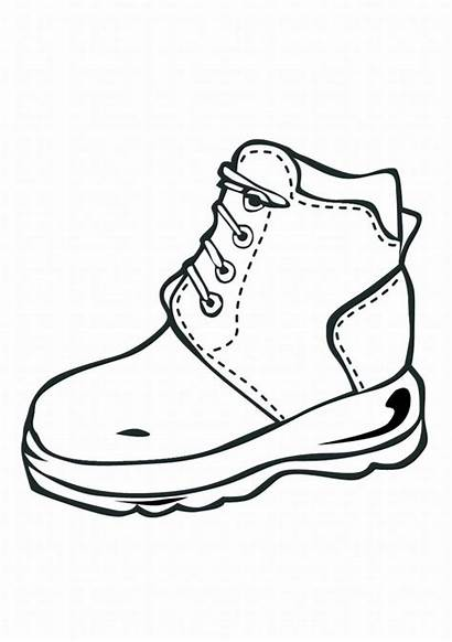 Coloring Shoe Shoes Pages Boots Drawing Printable