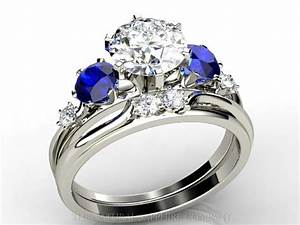 diamond and blue sapphire engagement rings fashion With blue sapphire and diamond wedding rings