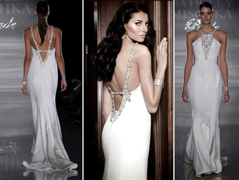 White Sheath Halter Wedding Dress With Open Low Back And