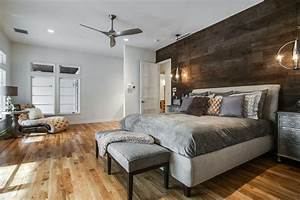 Reclaimed wood wall bedroom contemporary with custom bench for Kitchen cabinet trends 2018 combined with scrapbook paper wall art