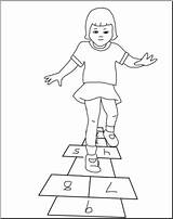 Hopscotch Playing Clip Clipart Cliparts Abcteach Bw Webcomicms sketch template
