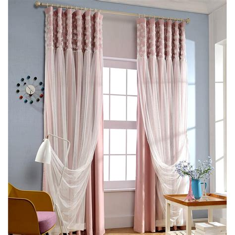 white lace curtains pink blackout fabric and white lace curtain