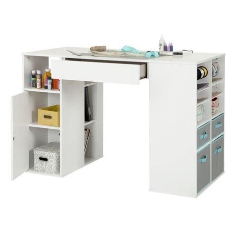 counter height desk with storage south shore crea storage counter height craft table in
