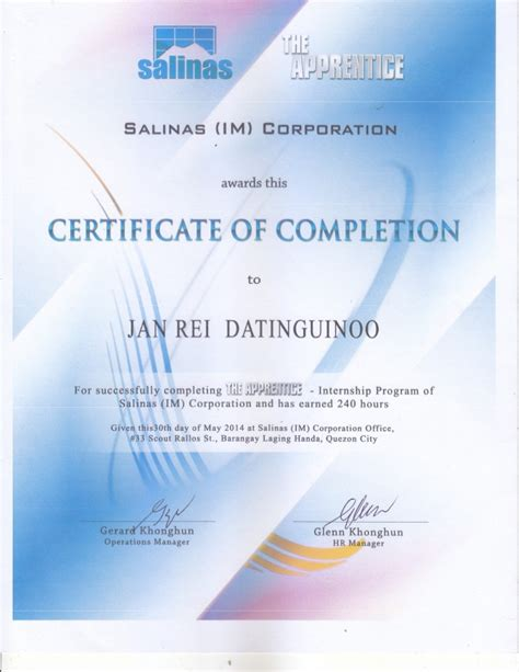 salinas ojt certificate  completion