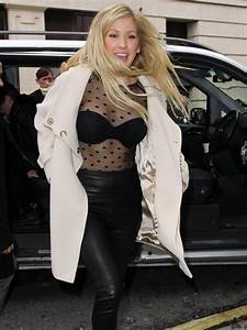 Ellie Goulding Wears A Sheer Top To Show Off Her Bra In