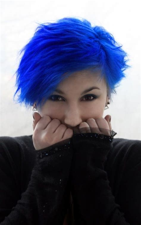 Black Bleue Blue Blue Hair Bluehead Short Blue Hair