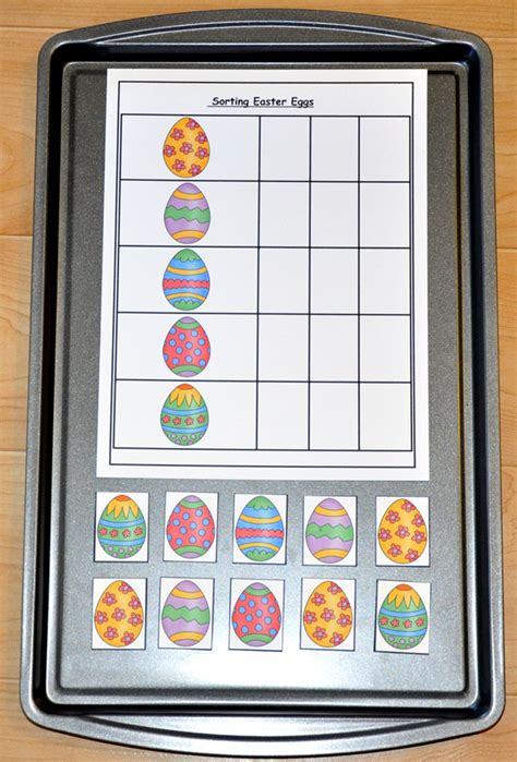 sorting easter eggs cookie sheet activity  file