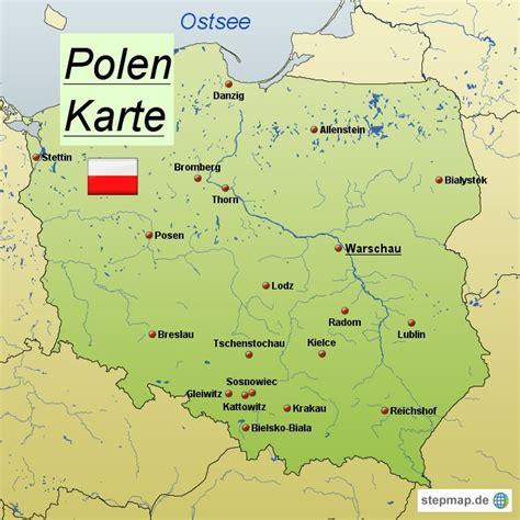 polen karte  ostsee deutschland europakarte mit