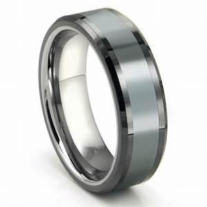 Tungsten Carbide Grey Meteorite Inlay Wedding Band Ring